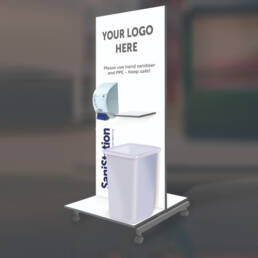 SaniStation HD Mobile with shelf and bin